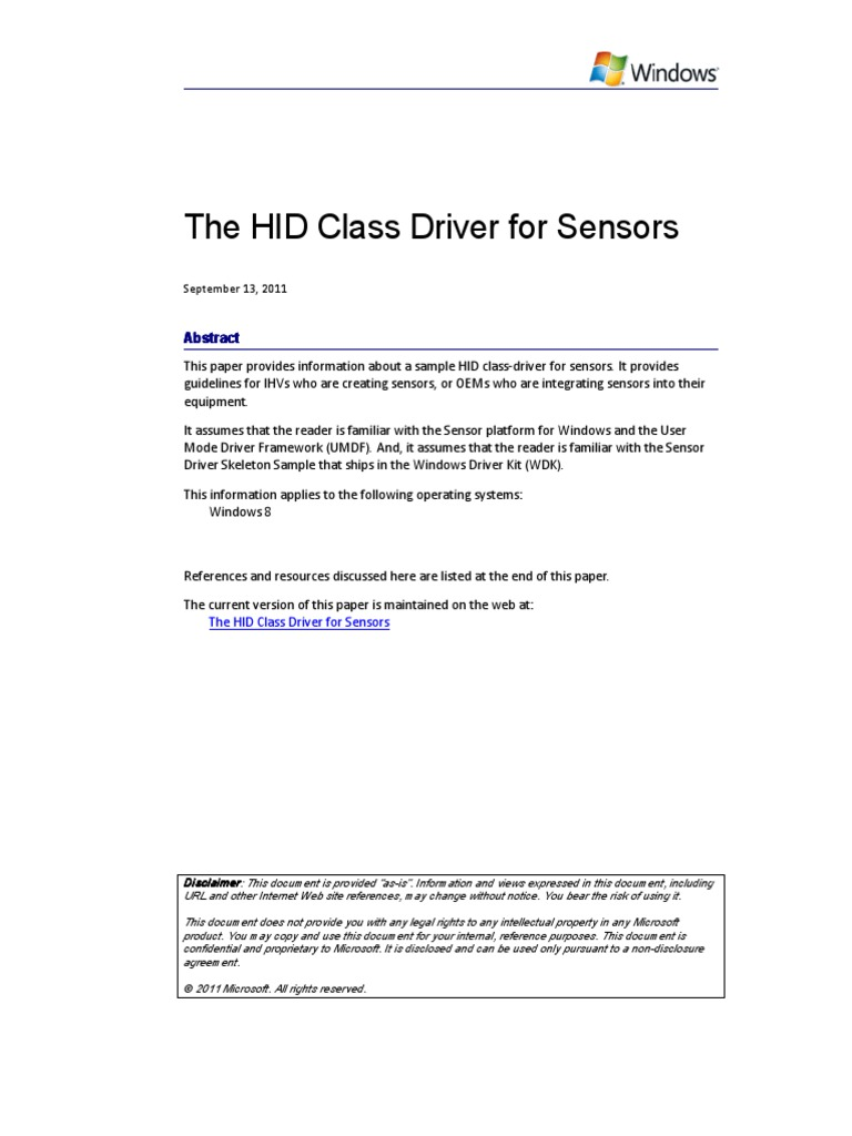 Hid Class Driver for Sensors | Device Driver | Accelerometer