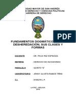 Fundamentos Dogmáticos de La Desheredación, Sus Clases y Formas