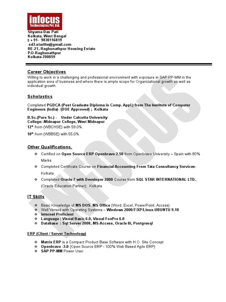 Sap End User Shyamadas Pati Sample Resume   Oracle Database   Sap Se