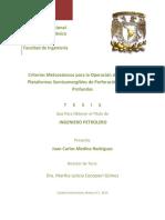 Criterios Metoceánicos Para La Operación de Risers en Plataformas Semisumergibles de Perforacion en Aguas Profundas