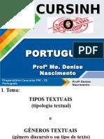 Slides - Cursinho - aula 1 - Tipologia e Gêneros Textuais - conteúdo.ppt