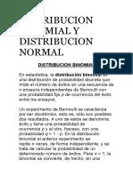 Distribucion Binomial y Distribucion Normal