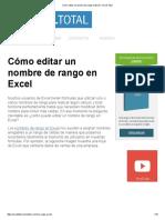 Cómo Editar Un Nombre de Rango en Excel - Excel Total