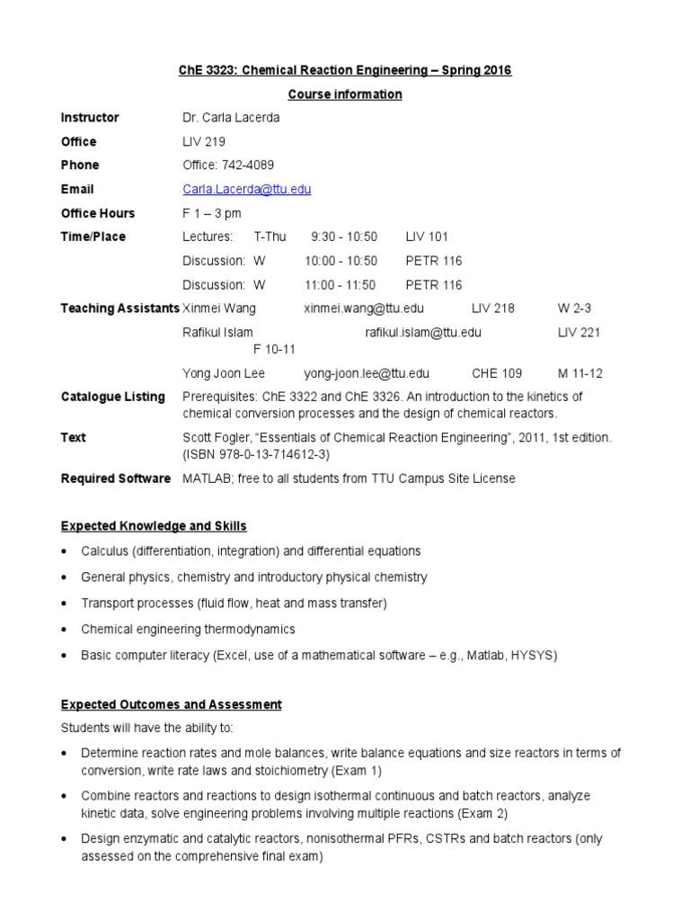 ChE 3323 Syllabus 2016 | Chemical Reactor | Homework