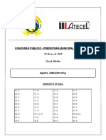 Agente Administrativo - Caturite - Gabarito Oficial