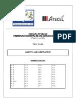 Agente Administrativo - São José Do Seridó - Gabarito Oficial