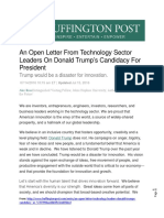 An Open Letter From Technology Sector Leaders on Donald Trump