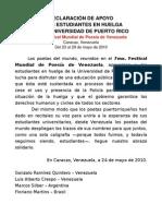 Declaracion de Apoyo Desde Venezuela