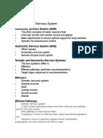 Chapter 15- Autonomic Nervous System Course Outline