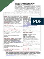 Course EPIB601 Outline 2010 Draft