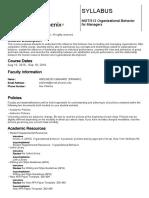 MGT-312 Organizational Behavior Course Syllabus