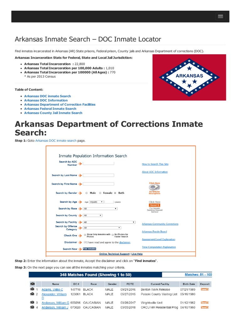 Arkansas Inmate Search Department of Corrections Lookup