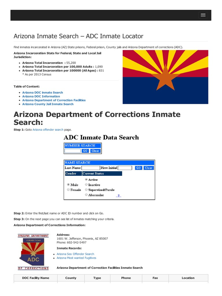 Arizona Inmate Search Department of Corrections Lookup | Arizona