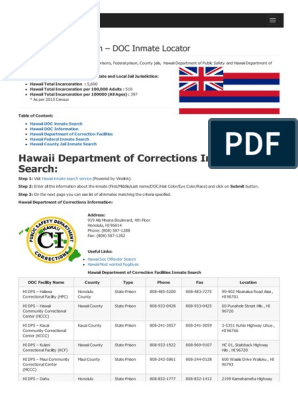 Hawaii Inmate Search Department of Corrections Lookup