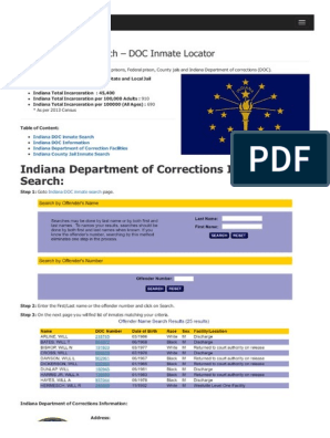 indiana dept of corrections inmate photos