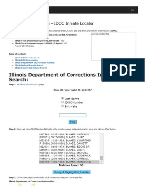 Illinois Inmate Search Department of Corrections Idoc Lookup