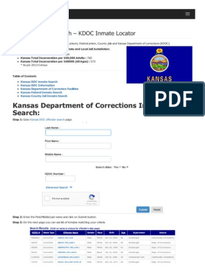 Kansas Inmate Search Department of Corrections Lookup