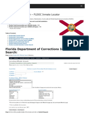 Florida Inmate Search Department of Corrections Lookup