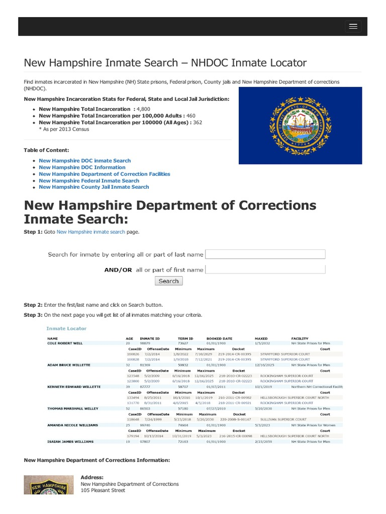 New Hampshire Inmate Search Department of Corrections Lookup
