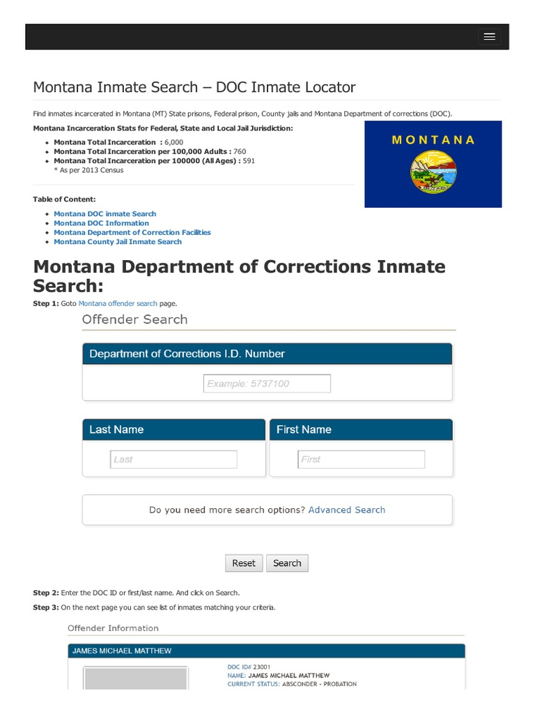 Montana Inmate Search Department of Corrections Lookup