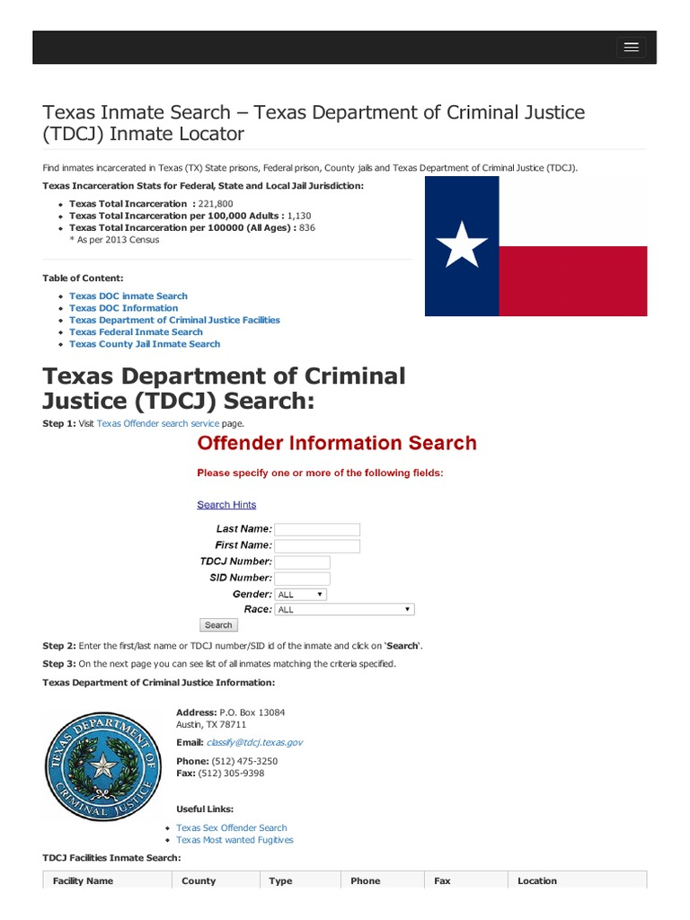 Texas Inmate Search Texas Department of Criminal Justice Tdcj Inmate