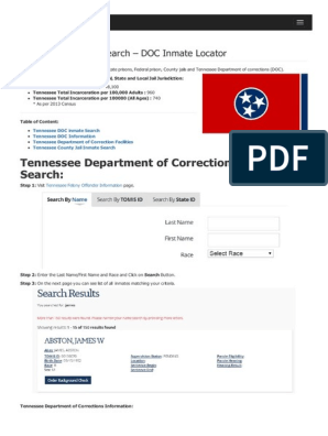 Tennessee Inmate Search Department of Corrections Lookup