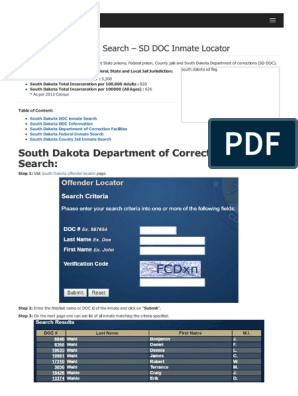 South Dakota Inmate Search Department of Corrections Lookup