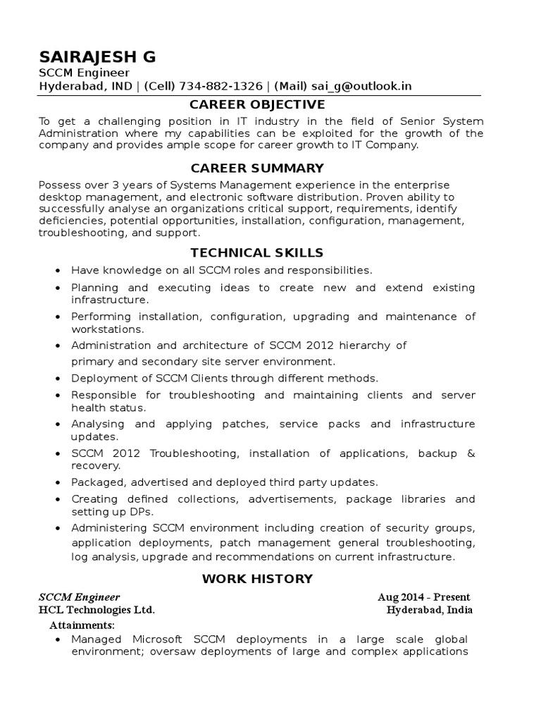 sairajesh resume sccm 2016  server computing