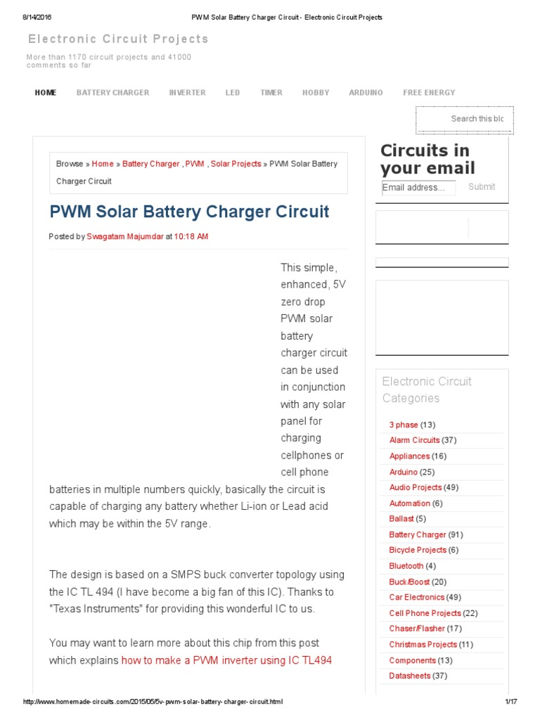 Pwm Solar Battery Charger Circuit Electronic Projectspdf Schematic Manufacturers Bipolar Junction Transistor Amplifier