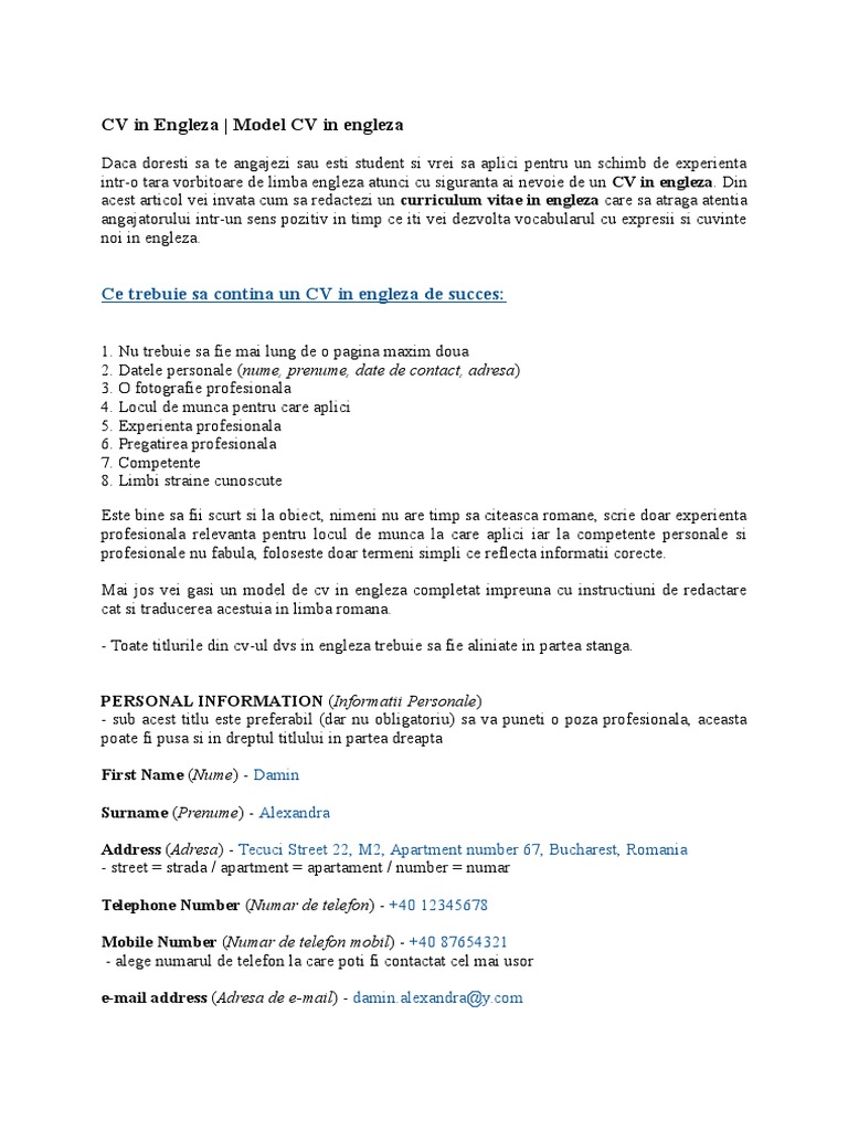 Cv in engleza model complectt yelopaper Choice Image
