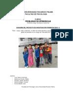Investigación Formativa de Problemas de Aprendizaje