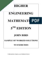 Bird - Higher Engineering Mathematics - 5e - Solutions Manual