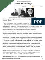 Pensadores Clássicos Da Sociologia - Brasil Escola