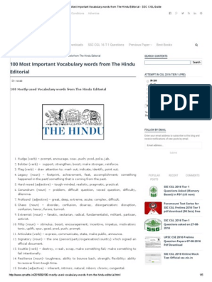 100 Most Important Vocabulary Words From the Hindu Editorial