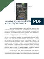 La Nueva Orientacion Biológica de La Antropología Filosófica(1)