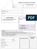 Individual - Group Project Cover Sheet