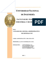 Analisis organizacional de SISTEMAS UNI