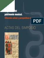 ACTAS SIMPOSIO CMDyD 2014 - La Gestión Del Patrimonio Musical (Situación Actual y Perspectivas de Futuro)