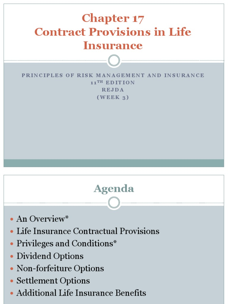 w3 - Contract Provisions in Life Insurance | Life ...