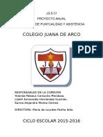 Proyecto Comisión Puntualidad y Asistencia 2015 2016