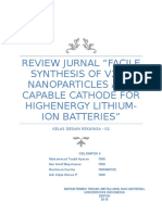 """REVIEW JURNAL """"FACILE SYNTHESIS OF V2O5 NANOPARTICLES AS A CAPABLE CATHODE FOR HIGHENERGY LITHIUM-ION BATTERIES"""""""