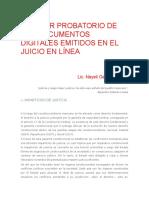 Valor Probatorio de Los Documentos Digitales Emitidos en El Juicio en Línea