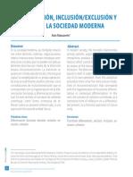 textDIFERENCIACIÓN, INCLUSIÓN/EXCLUSIÓN Y COHESIÓN EN LA SOCIEDAD MODERNA