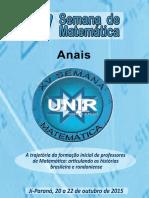 Anais XV Semana Da Matemática - 2015