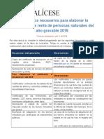 Documentos Para Elaborar Renta 2015