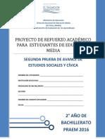 Segunda Prueba de Avance de Estudios Sociales - Segundo Año de Bachilllerato - PRAEM 2016