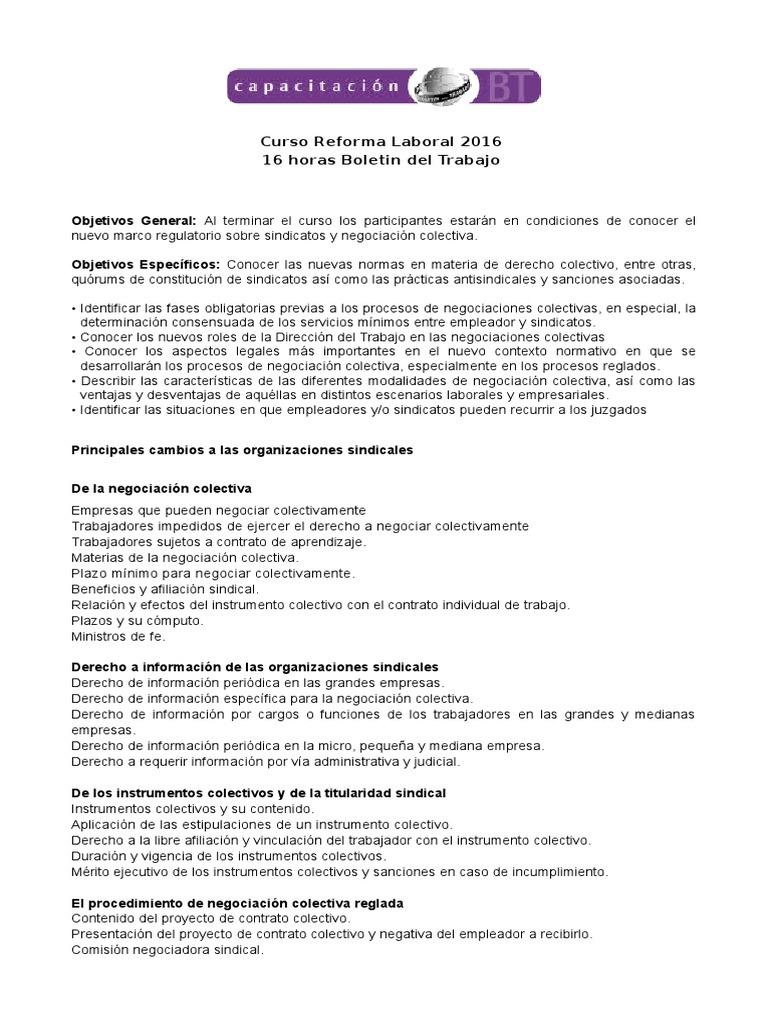Malla Reforma Laboral 2016