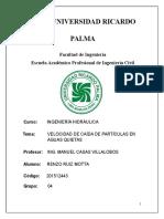 INFORME 2 VELOCIDAD DE CAÍDAS DE PARTICULAS EN AGUA QUIETA (LABORATORIO)