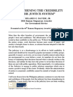 STRENGTHENING THE CREDIBILITY OF THE JUSTICE SYSTEM