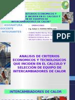 """operaciones""""ANALISIS DE CRITERIOS ECONOMICOS Y TECNOLOGICOS QUE INCIDEN EN EL CALCULO Y SELECCIÓN DE EQUIPOS DE INTERCAMBIADORES DE CALOR"""""""